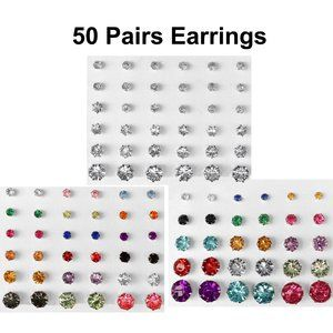 Lot of 50 Pairs Cubic Zirconia Stud 100 Earrings